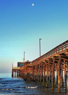 Early morning at the Newport Beach Pier as the moon is getting low in the sky. Newport Beach Pier, Early Morning, California, Moon, Sky, Building, Travel, The Moon, Heaven