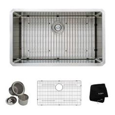KRAUS All-in-One Undermount Stainless Steel 32 in. Single Bowl Kitchen Sink KHU100-32 at The Home Depot - Mobile