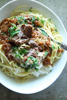 Braised Greek Pot Roast and Spaghetti