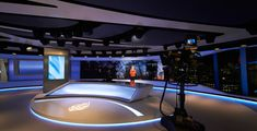 Broadcast design specialists Veech x Veech designed the Al Jazeera London Broadcast Studio location in the Shard Tower Tv Set Design, Stage Design, The Shard London, Virtual Studio, Al Jazeera, Tv Sets, News Studio, Gallery, Image