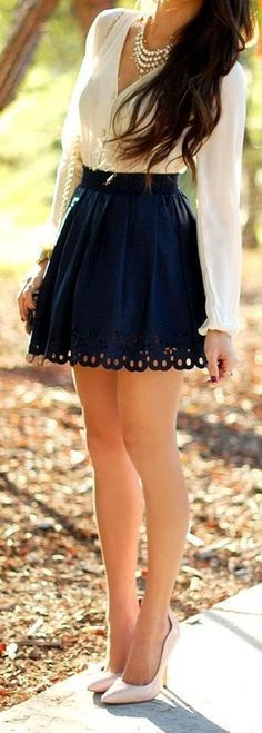 I love my wife; I love this outfit. High heels and a short skirt by definition create a long-legged look, on anyone. Should make a happy husband, if worn with a smile. #blackhighheelsforprom