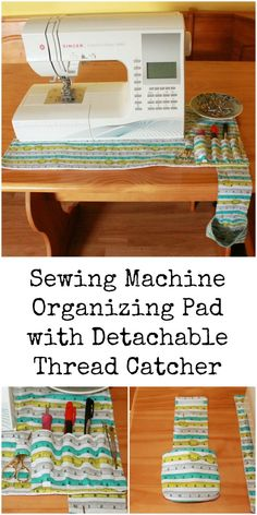 Sewing Machine Organizing Pad with Detachable Thread Catcher