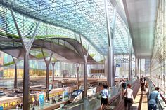 Image 7 of 8 from gallery of Amtrak and HOK unveils design for new Washington Union Station. Interior view of Train Shed - Courtesy of HOK Union Station, Train Station, Metro Station, Future Transportation, Space Frame, Minimalist Architecture, Interior Architecture, Building Structure, Washington Dc