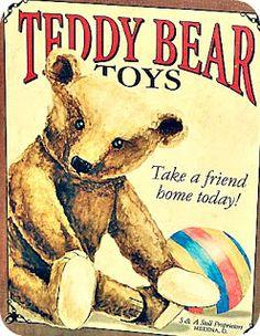 Teddy Bear Wall Signs Tin Sign - 30 x 41 cm Teddy Bear Cartoon, Teddy Bear Toys, Cute Teddy Bears, Victorian Paper Dolls, Vintage Paper Dolls, Vintage Toys, Photo Ours, Teddy Bear Pictures, Antique Teddy Bears
