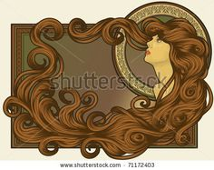 Art Nouveau styled woman's face with long detailed flowing hair by Transfuchsian, via Shutterstock
