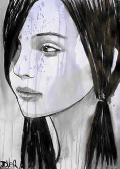 "Saatchi Online Artist Loui Jover; Drawing, ""pig tails"" #art"