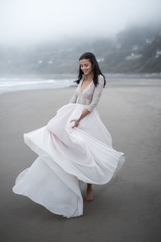 Lavender lace wedding dress with v-neck sheer bodice
