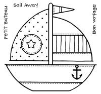 Woodware Stamps - Clear 'Singles' - FRS116 - Patchwork Boat
