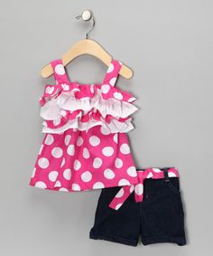 Take a look at this Pink Ruffle Swing Top & Shorts - Infant & Toddler  by Forever Young by Young Hearts on #zulily today!