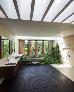 Swipe left ⬅️What is your thought about this house? - The Kien Giang House Designed by Nha Dan Architecture Located in Kien Giang, Vietnam… Outdoor Bathrooms, Dream Bathrooms, Interior Design Examples, Home Interior Design, Appartement Design, Bathroom Design Inspiration, Bathroom Design Luxury, Dream Home Design, Home Fashion