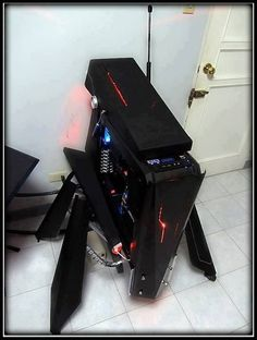 Cool Computer Tower. I would put some motors to make it open up when on and closed up when off.