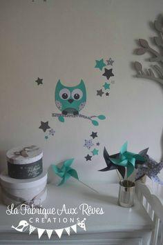 Stickers arbre turquoise p trole gris hibou oiseaux for Stickers hibou chambre bebe