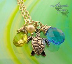 Sea Turtle Necklace Hawaiian Honu Mermaid by MermaidTearsDesigns, $25.00