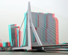 https://flic.kr/p/nNYgiL | Erasmusbrug Rotterdam | Erasmusbrug en de Rotterdam anaglyph stereo red/cyan hyperstereo