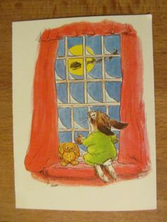 Vintage Christmas Card, Pawprints, Wallace Tripp, Rabbit, Bunny