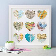 Bespoke Nine Heart Map Art - pictures, prints & paintings