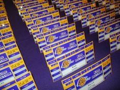 Our Bar Mitzvah boy LOVES the Lakers and wanted his party to reflect his passion for purple and gold. Here is the scoreboard we created for . Basketball Wedding, Basketball Party, Sports Party, Bar Mitzvah Centerpieces, Wedding Seating, Bat Mitzvah, Event Planning, Party Time, Place Cards