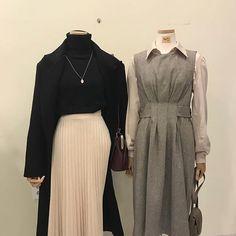 Korea style that are stunning Vestidos Koreanische Seoul Fashion, Korea Fashion, Kpop Fashion, Muslim Fashion, Modest Fashion, Fashion Dresses, Womens Fashion, Classy Outfits, Vintage Outfits