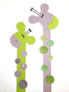 Lime Green and Grey Giraffe Nursery Artwork by 3000yardsofthread, $14.00