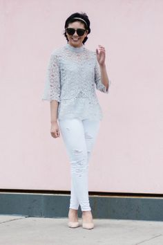 How wearing white distressed jeans and a lace top is perfect for a Spring outfit. || The perfect white distressed jeans |  The perfect lace top | Spring Style | Transitional Spring Outfit | Spring Fashion | How to dress feminine without wearing a dress or skirt |