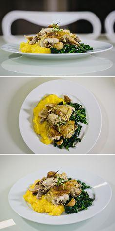 Pečené kuře na víně se špenátem a polentou