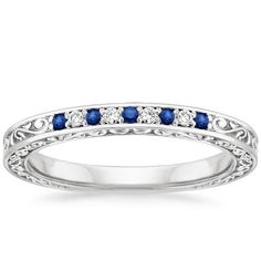 18K White Gold Delicate Antique Scroll Sapphire and Diamond Ring from Brilliant Earth - It matches my ring!