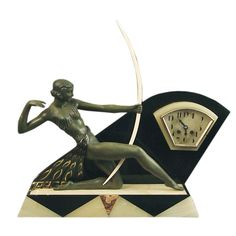 Diana the Huntress Sculpture, French Art Deco Clock, Garnitures | From a unique collection of antique and modern sculptures at http://www.1stdibs.com/furniture/more-furniture-collectibles/sculptures/