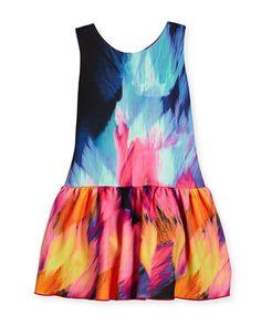 Sleeveless Flame Dropped-Waist Scuba Dress, Multicolor, Size 7-16