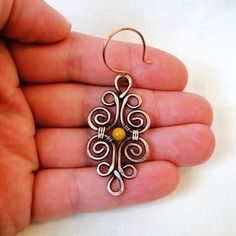 simple Wire Wrapped Earrings with one small bead