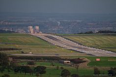 Leeds Bradford airport - West Yorkshire, England. There is a tunnel to take the A658 Bradford to Harrogate road beneath the runway.