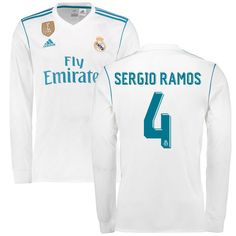 be8593424e7 Sergio Ramos Real Madrid adidas 2017 18 Home Replica Patch Long Sleeve  Jersey - White