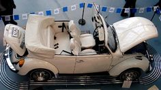 Triple White - Available from 1976 through to 1979 a Triple White was the last VW Beetle Convertible ever built.   Light Ivory (1976 - L80E paint; 1977 and 1978 - L90B; 1979 - L90E) with Opal (white) upholstery and Light Sand convertible top. 1977-1979 models featured factory installed whitewall tires.