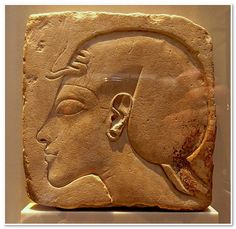 Sunk relief of a royal head in profile  From Amarna  New Kingdom, 18th dynasty