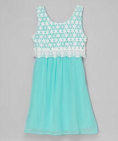 Love this Btween Mint Floral-Lace Dress by Btween on #zulily! #zulilyfinds