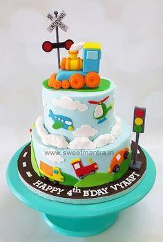 Vehicles truck car bus plane train theme 2 tier designer fondant cake for boy's . Cars Theme Cake, Airplane Birthday Cakes, Toddler Birthday Cakes, Baby Boy Cakes, Themed Birthday Cakes, Themed Cakes, 2nd Birthday Cake Boy, Car Cakes For Boys, Cake Designs For Boy