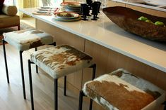 Hide covered Bar Stools, Interior design by Maison Inc. Home Design, Shop Interior Design, Interior Ideas, Design Ideas, Cowhide Furniture, Western Furniture, Cow Kitchen, Kitchen Decor, Kitchen Ideas