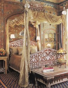 Somewhere between Mughal and Gothic is the decor of Ann Getty's boudoir.