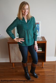 January 2016 Stitch Fix Sweet Grey Colfax Henley Blouse Genetic The Stem jeans Frye boots Gorjana Elea cuff Margaret Elizabeth bangle #stitchfix #margaretelizabeth #gorjana #frye