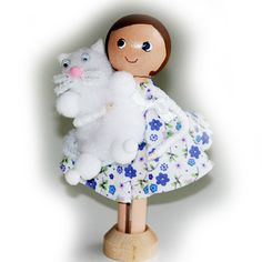 Children's Clothespin Doll and Cat Kit (Embroidery Thread not incl), Kid's Craft Kit  £5.50 by Troodlecraft