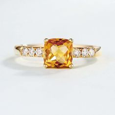 4.0Ct Cushion Cut Yellow Citrine Women's Engagement Ring 14K Yellow Gold Finish | eBay Curved Wedding Band, Diamond Wedding Rings, Gold Wedding, Wedding Bands, Delicate Rings, Modern Jewelry, Engagement Rings, Prong Set, Anniversary