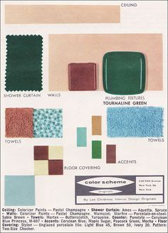 Source: Planning Modern Bathrooms in Color by American Standard Image from the Mid Century Home Style collection. Bathroom Color Schemes, Bathroom Paint Colors, Vintage Color Schemes, Interior Ceiling Design, Painting Shower, Plumbing Fixtures, Colorful Decor, Decorating Tips, The Originals
