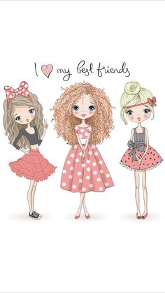 Wallpaper iPhone ⚪️ Take out the blonde its Bella & Anastasia! Image Girly, Funny Wallpapers, Cute Images, Cute Pictures, Illustration Girl, Cute Art, Cute Cartoon, Fashion Sketches, Cute Drawings