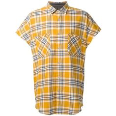 Fear Of God sleeveless flannel shirt ($505) ❤ liked on Polyvore featuring men's fashion, men's clothing, men's shirts, men's casual shirts, yellow, mens yellow shirt, mens sleeveless shirts, mens flannel shirts and mens yellow flannel shirt