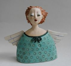 Decorative Objects - Ceramic Angels for Christmas - a unique product by Margit-Ho . Slab Pottery, Ceramic Pottery, Pottery Angels, Paper Clay Art, Ceramic Angels, Maila, Crafty Angels, Pottery Sculpture, Clay Figures