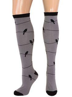Steampunk Tights  & Socks Birds on a Wire Knee Socks $13.00 AT vintagedancer.com