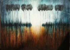 Astract tree paintings original modern art landscape Made to order