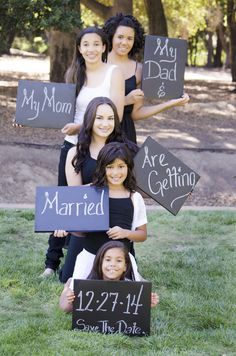 Cute Save-the-date portraits for a family blending.  There 5 girls all holding different chalk board with information. See all the photos on this board. Jen Vazquez Photography http://jenvazquez.com