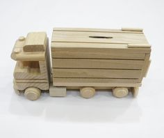 eco friendly handmade toys for babies, children, kids, boys and girls Arts And Crafts Storage, Arts And Crafts House, Craft Storage, Crafts For Boys, Baby Crafts, Wooden Truck, Kids Wood, Money Box, Wood Toys