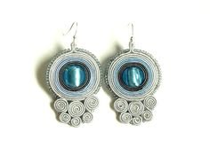 Soutache earrings- soutache jewelry - hand embroidered earrings - blue grey gray dangle earrings - bilateral earrings - gift for her