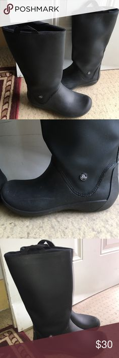 Selling Crocs rain boots. Size 7 Crocs rain boots. Easy pull up tabs on shaft of boot. 13 1/2 shift height and 5 inch diameter shaft. CROCS Shoes Winter & Rain Boots